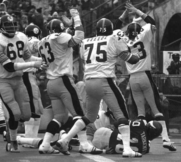 58555b229e2 The Pittsburgh Steelers react as Minnesota Vikings' quarterback Fran  Tarkenton recovers his own fumble in