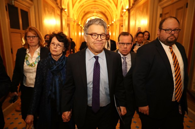 Sen. Al Franken and his wife, Franni Bryson, left, arrive at the U.S. Capitol Building on Dec. 7, 2017, in Washington, DC. Franken announced that he will be resigning in the coming weeks after being accused by several women of sexual harrassment. (Chip Somodevilla/Getty Images)