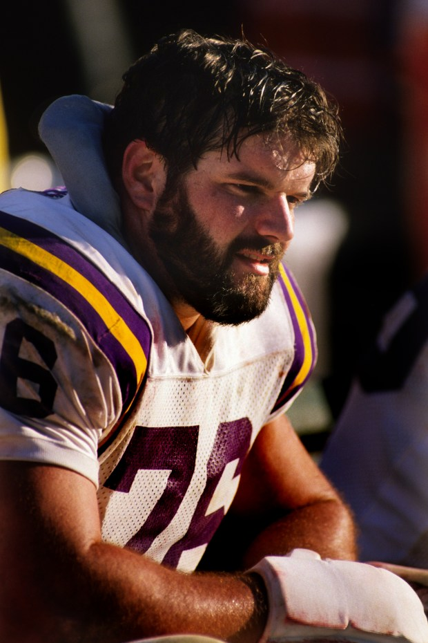 Vikings tackle Tim Irwin sits on the bench during the 1988 NFC Divisional Playoffs against the San Francisco 49ers at Candlestick Park on Jan. 1, 1989. The 49ers won 34-9. (George Rose / Getty Images)