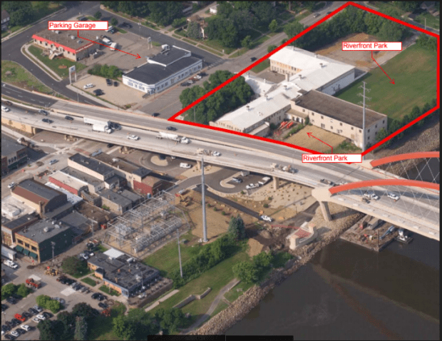 Confluence Development is planning a 67-room hotel, 22 apartments, a banquet facility, restaurant and retail space in the former H.D. Hudson Manufacturing Co. building. (Courtesy of City of Hastings)