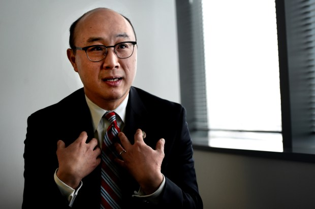 Ramsey County Attorney John Choi is interviewed about his decision to charge Officer Yanez in Philando Castile's death and the trial that followed, Thursday, Dec. 14, 2017 in St. Paul. (Jean Pieri / Pioneer Press)