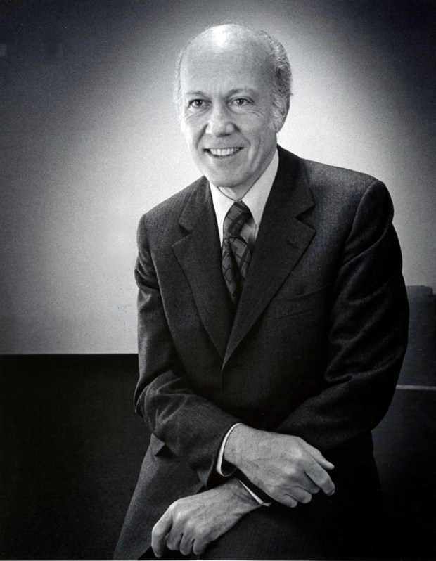 "Undated black and white courtesy photo of Lawrence ""Larry"" O'Shaughnessy, a St. Paul philanthropist and major benefactor at the University of St. Thomas. He passed away Sunday, Dec. 3, 2017. (Courtesy of the University of St. Thomas)"