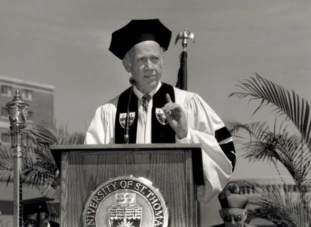 "Undated black and white courtesy photo of Lawrence ""Larry"" O'Shaughnessy, a St. Paul philanthropist and major benefactor at the University of St. Thomas, when he received an honorary doctorate from St. Thomas in 1996. He passed away Sunday, Dec. 3, 2017. (Courtesy of the University of St. Thomas)"