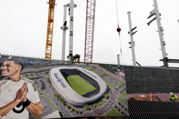 Constuction continues on the southeast corner of Allianz Field in St. Paul on Wednesday Dec. 6, 2017. The stadium is scheduled to host its first Loons game in March or April 2019. (Matthew Weber / Pioneer Press)