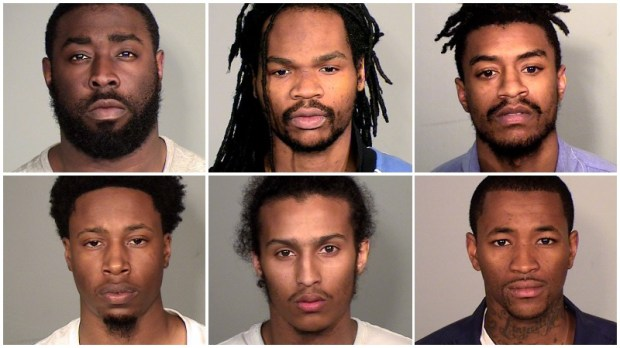 Federal firearms charges were announced on Thursday, Dec. 28, 2017, against six people who law enforcement described as members of the HAM Crazy gang in St. Paul. Top, left to right: Shelby Delane Ashford Jr., Casey Jemar Davis,Phillip Dwayne Jackson. Bottom, left to right: Marvell Voshon Jefferson, Carmelo Manuel Marrero, Nakia Marquire Martin. (Courtesy of the Ramsey County Sheriff's Office)