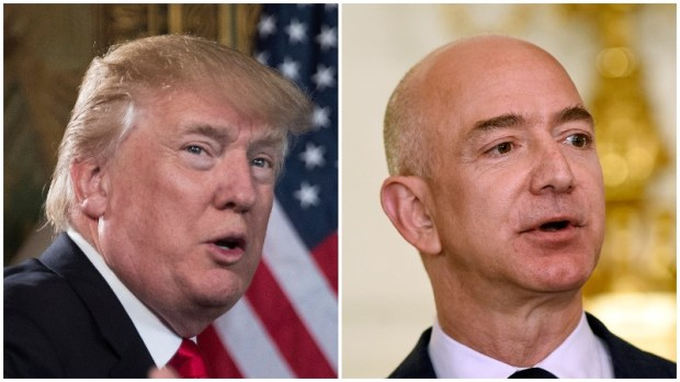 President Donald Trump, left, and Jeff Bezos, founder and CEO of Amazon. (AP Photo/Carolyn Kaster, AP Photo/Susan Walsh)