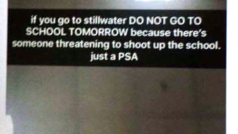 Some Stillwater students received a social media message Thursday, Nov. 30, 2017, referring to a possible threat at school. (Courtesy photo)