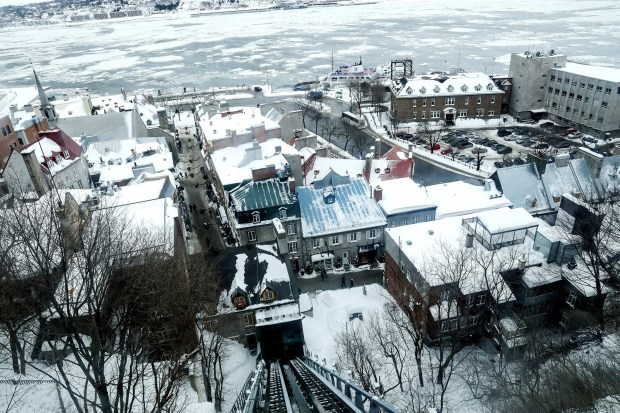 The view from the funicular (sort of an angled elevator), going from the Dufferin Terrace at the Chateau Frontenac and heading down to the Petit Champlain. (Brian Sirimaturos/St. Louis Post-Dispatch/TNS)