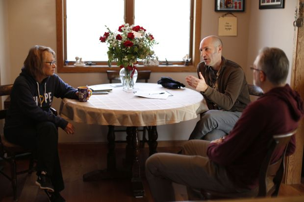 "Filmmaker Chris Newberry, center, sits down with Patty and Jerry Wetterling in their St. Joseph, Minn. home on Nov. 11, 2017 to give them an update on the documentary production he is working on. Newberry, who won an Emmy for his documentary called ""American Heart,"" is now tackling a subject that Minnesotans know well -- the abduction and killing of the Wetterling's 11-year-old son, Jacob. (Courtesy of Erica Ticknor / Chris Newberry Productions)"