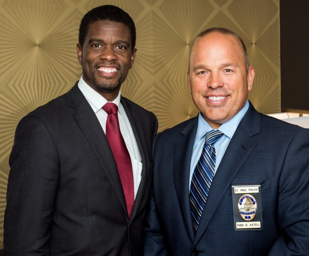 Melvin Carter, now St. Paul mayor, left, and St. Paul Police Chief Todd Axtell at a reception in September 2016. (Courtesy of Davin Brandt)