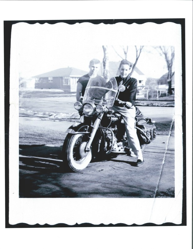 A photo of a teenage Bob Dylan and his friend Dale Boutang recently acquired by the Minnesota History Society. (Courtesy of the Minnesota Historical Society)