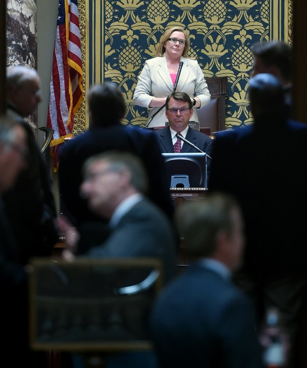 President of the Senate Michelle Fischbach and Secretary of the Senate Cal Ludeman can be seen through the Senate's open doors at the State Capitol in St. Paul, May 16, 2017. (Scott Takushi / Pioneer Press)