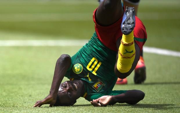 Cameroon's Frantz Pangop Tchidjui reacts during a match against Morocco during the Baku 2017 4th Islamic Solidarity Games at the Bayil Arena in Baku, Azerbaijan on May 11, 2017. Minnesota United has signed the 24-year-old attacker. (Jorge Guerrero / AFP/Getty Images)