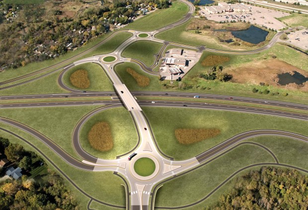 A freeway-style interchange with three roundabouts is planned for Minnesota 36 and Hadley Avenue in Oakdale. The Marcus Oakdale Cinema can be seen near the top of this photo-illustration. Work is expected to begin in early 2019. (Courtesy of Washington County)