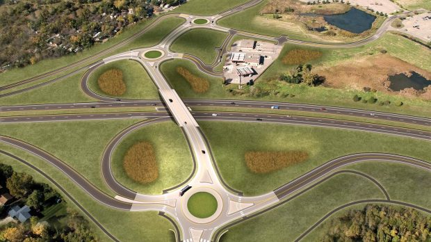A freeway-style interchange that includes three roundabouts will be built at Minnesota 36 and Hadley Avenue in Oakdale. The Marcus Oakdale Cinema can be seen near top of photo. Work is expected to begin in early 2019. (Courtesy of Washington County)