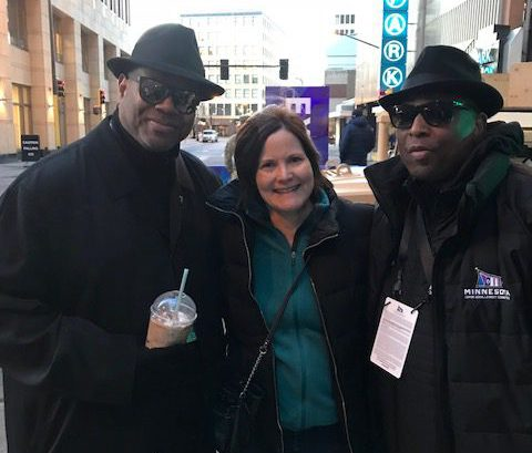 Jimmy Jam and Terry Lewis pose for a picture with fan Nora Slawik, Maplewood, at the Prince Tribute on Monday during Super Bowl week. (courtesy Nora Slawik)