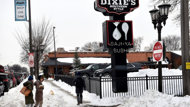 The longtime proprietor of Dixie's on Grand and Saji Ya restaurants has proposed replacing the one-story Grand Avenue building with up to four levels of retail and housing, Wednesday, Jan. 24, 2018. (Jean Pieri / Pioneer Press)