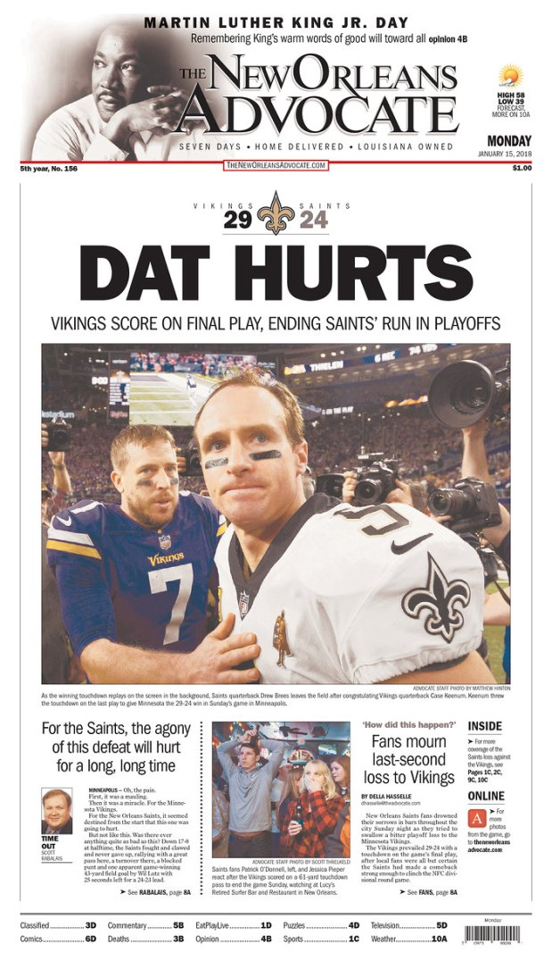 New Orleans Advocate Saints front page