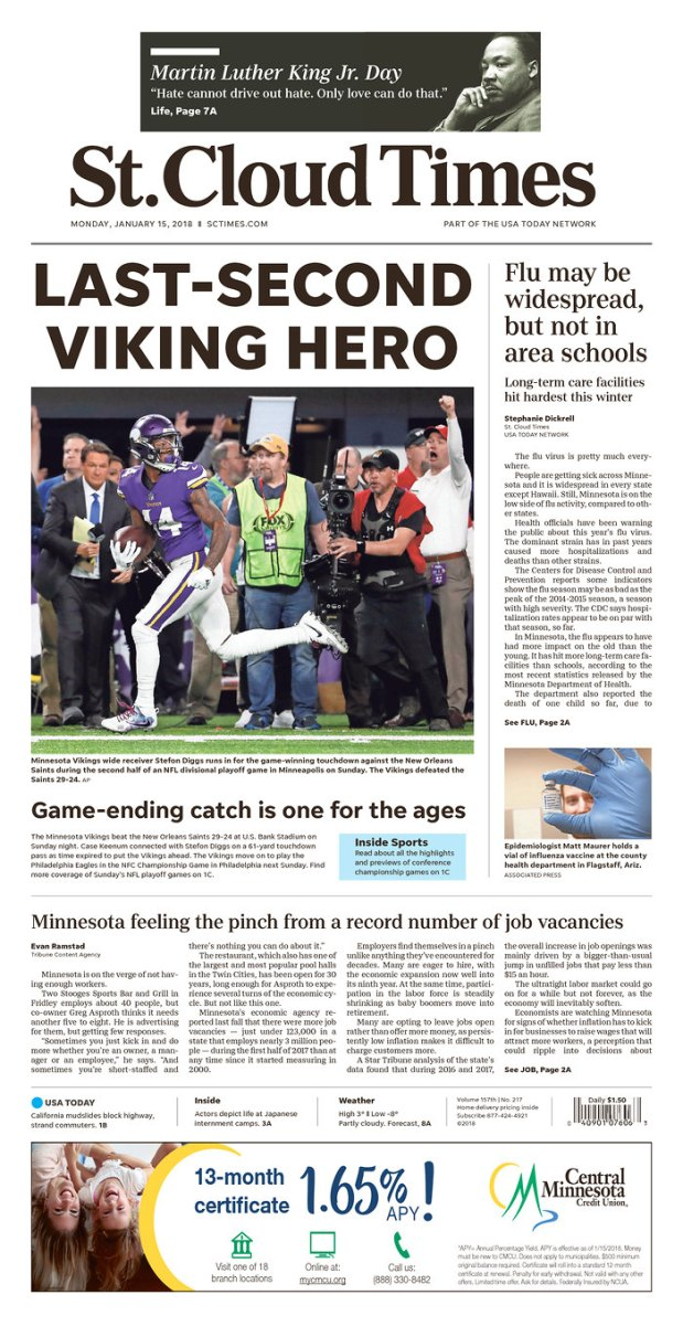 St. Cloud Times Vikings front page