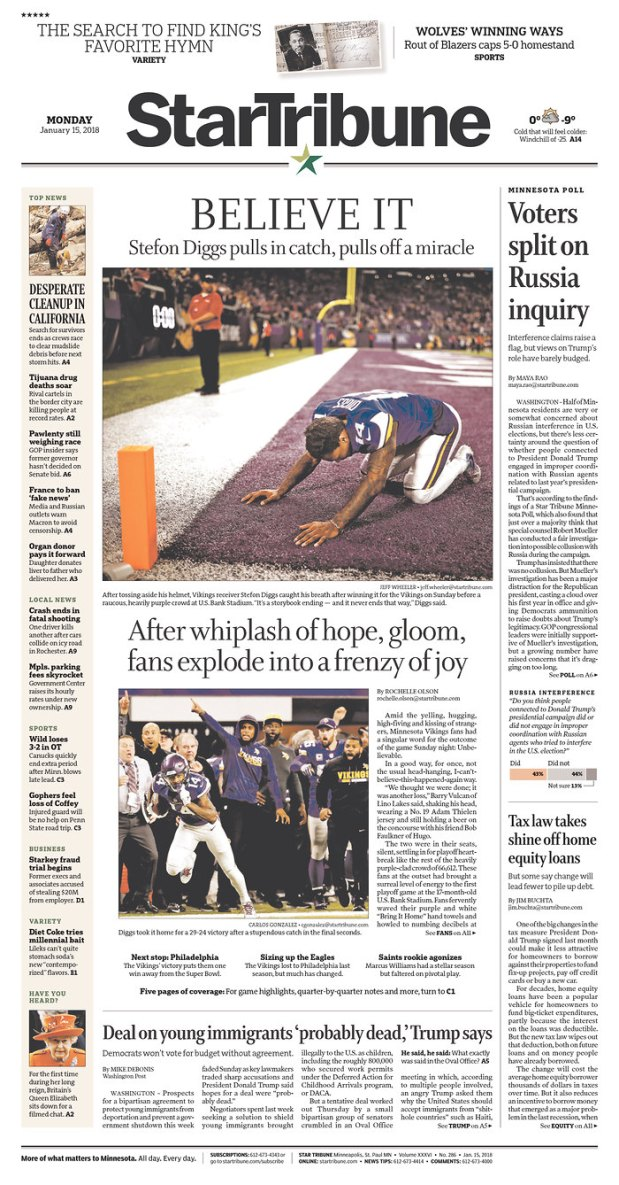 Star Tribune Vikings front page