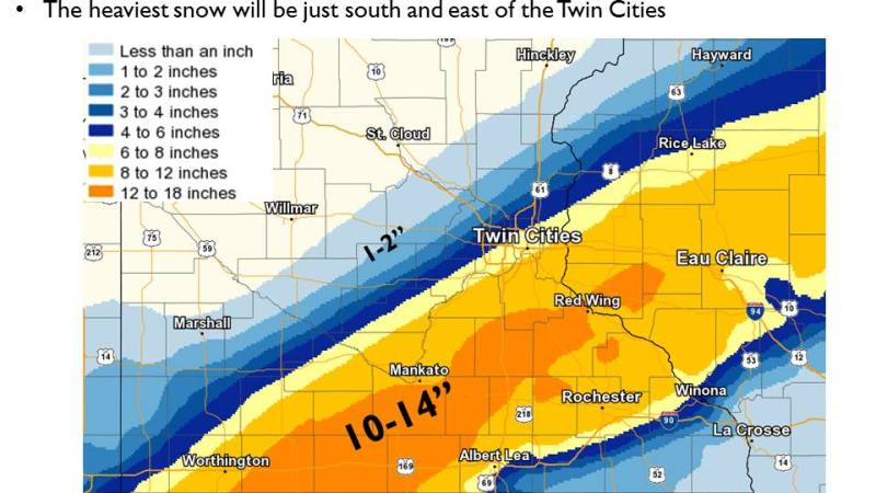 When St. Paul Public Schools decided early Monday morning, Jan. 22, 2018 to keep its schools open, the National Weather Service was forecasting 6-8 inches of snow for St. Paul but much more further south. The storm hit the city harder than expected with the airport registered 12.4 inches of snow by midnight. (Courtesy of the the National Weather Service)