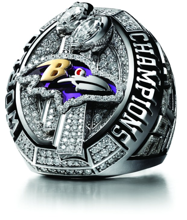 Undated courtesy photo, circa Jan. 2018, of the Super Bowl ring given to the Baltimore Ravens for winning Super Bowl XLVII. (Charles Masters / NFL)