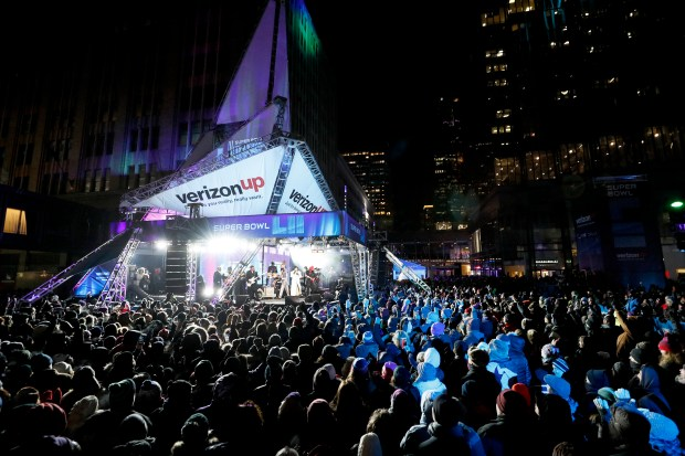 Morris Day and the Time performed on Nicollet Mall in Minneapolis as part of Super Bowl Live featuring the Revolution, Morris Day and the Time and Sheila E. (Courtesy Star Tribune and Minnesota Super Bowl Committee)