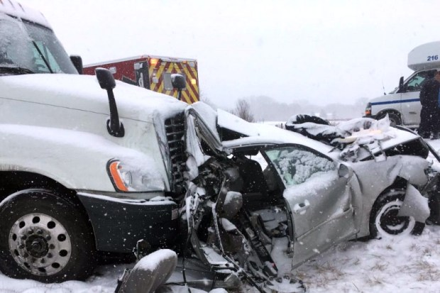 Four members of the Buck family of St. Paul were seriously injured during a snowstorm on Dec. 29, 2017, when their Toyota Camry was struck from behind by a semitractor-trailer on Interstate 380 near Waterloo, Iowa. (Courtesy of the Buck family)