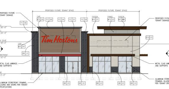A rendering of a 4,348-square-foot building in West St. Paul that will include a Tim Hortons and a fast-casual restaurant. (Courtesy of West St. Paul)