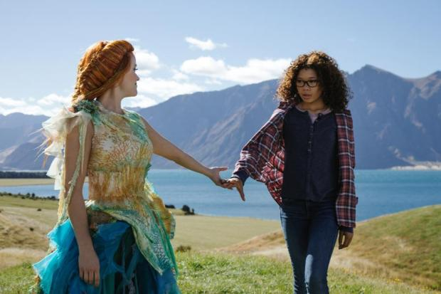 """Reese Witherspoon as Mrs Whatsit, left, and Storm Reid as Meg Murry in """"A Wrinkle in Time."""" (Disney)"""