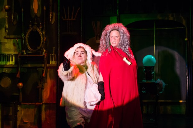 Jay Eisenberg, left, and Maren Ward are Lamby-lamb and the Evil Queen. (Photo by Galen Fletcher)