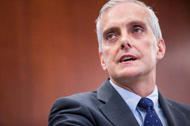 White House Chief of Staff Denis McDonough speaks during a conference between The Center for Strategic and International Studies and the Justice Department on Sept. 14, 2016 in Washington, D.C.The National Security Division (NSD) of the US Department of Justice was created after 9/11 to integrate law enforcement, intelligence, and other government tools in the fight against national security threats. September 2016 marks NSD's 10-year anniversary since commencing operations. / AFP / ZACH GIBSON (Photo credit should read ZACH GIBSON/AFP/Getty Images)