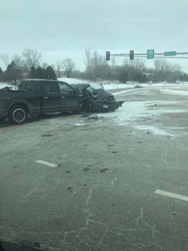 The scene of a crash at the intersection of 80th Street and Barnes Avenue in Inver Grove Heights on Feb. 22, 2018. (Courtesy of Ryan Daniel Gervais)
