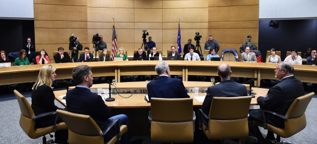 Gov. Mark Dayton, center, is joined by legislative leaders, from left, House Minority Leader Melissa Hortman, House Speaker Kurt Daudt, Dayton, Senate Majority Leader Paul Gazelka, and Senate Minority Leader Tom Bakk during a question and answer session on the upcoming Legislative session at the Minnesota State Senate Building on Tuesday, Feb, 13, 2018. (John Autey / Pioneer Press)