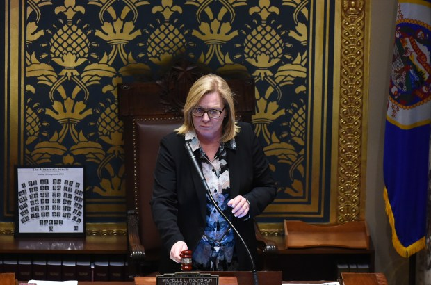 Senate President Michelle Fischbach gavels in the Senate on the opening day of the 2018 Minnesota Legislature at the State Capitol in St. Paul on Tuesday, Feb. 20, 2018. Fischbach, R-Paynesville, is trying to keep her Senate position after she was appointed to the lieutenant governorÕs post. The Constitution foisted that position onto her when Gov. Mark Dayton, a Democrat, appointed Lt. Gov. Tina Smith to replace Al Franken in the U.S. Senate. (John Autey / Pioneer Press)