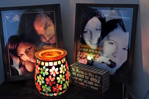 Favorite photos of Anne Emerson and her fiancee Ryan are displayed in her home in Ramsey, Thursday, Feb. 8, 2018. She lost her fiance, Ryan, to a heroin overdose in December. He struggled for years with his addiction, but continued to relapse. (Jean Pieri / Pioneer Press)