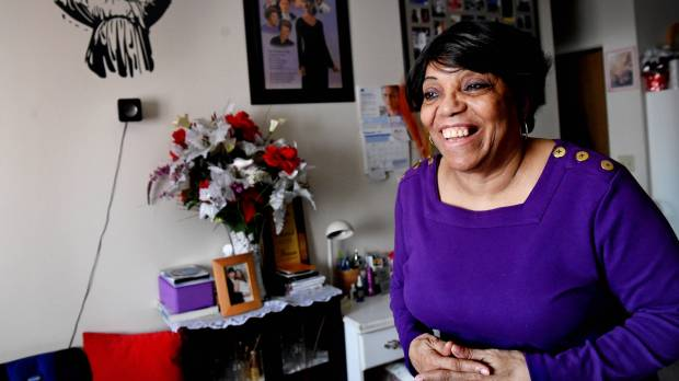 """""""It's home to me. You have a lake. It's in an area you can get out. I'm comfortable and I love it,"""" said Jessie Fields, Friday, Feb. 23, 2018 in her apartment at Como by the Lake Apartments which was purchased by Aeon after residents learned that owners of the 99-unit-senior living building would no longer accept federal Section 8 housing subsidies in 2015. Low-income residents of the senior living facility were saved from losing their homes by the purchase. Fields said she interacts with the other residents and tries to help them when she can. """"If they need to go to the store, I'll go to the store."""" (Jean Pieri / Pioneer Press)"""