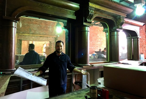 Jesse Held, Parlour's bar director, stands behind what will soon be the bar at Parlour Bar St. Paul at 217 West Seventh St., kitty corner to Tom Reid's just blocks from Xcel Energy Center on Friday, Feb. 9, 2018. (Jess Fleming / Pioneer Press)