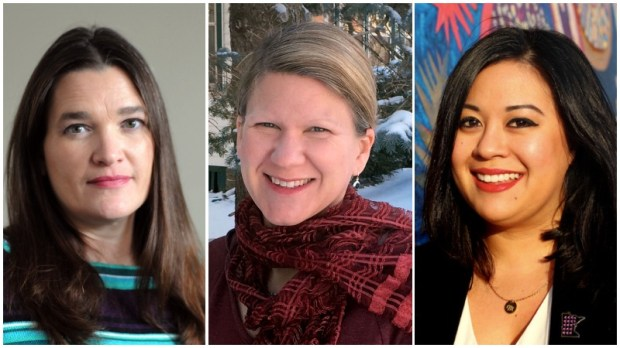 Shirley Erstad, left, Amy Ireland, center, and Mitra Jalali Nelson, right. The three are candidates for St. Paul's Ward 4 city council seat. (Courtesy photos)