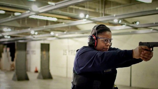 "Brooke Blakey, a Metro Transit police officer, is seen at a firing range. She is featured is ""Her America: 50 Women, 50 States,"" which is a digital content series for Lifetime. Undated courtesy photo, circa Feb. 2018. (Courtesy of Lifetime)"