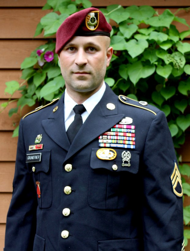 Army Sgt. Brian Grundtner in his dress uniform before his retirement, at Fort Bragg, N.C., in November 2013. (Courtesy of Brian Grundtner)