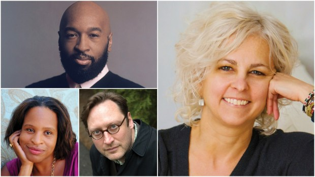 Clockwise from top left, David Barclay Moore, Kate DiCamillo, M.T. Anderson and Nicola Yoon.