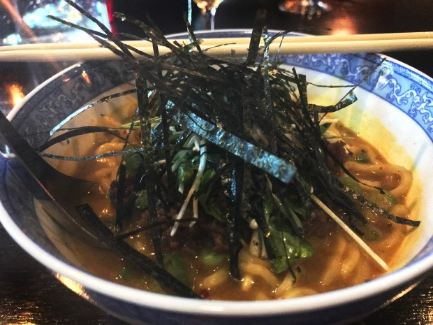 Curried Ramen Noodles with housemade vegan sausage at Tongue in Cheek in St. Paul. (Nancy Ngo / Pioneer Press)