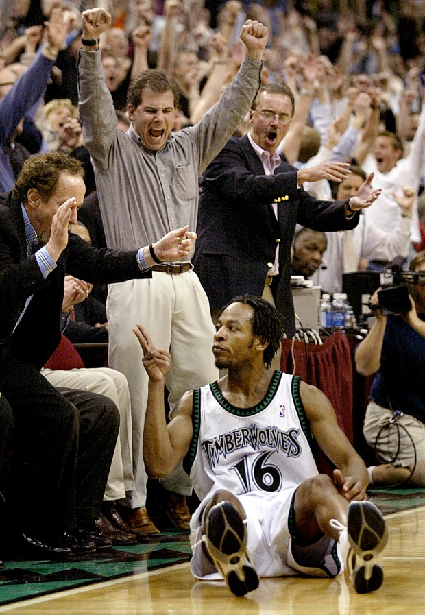 Minnesota Timberwolves guard Troy Hudson reacts to the crowd after hitting a three-point shot at the end of the second quarter against the Los Angeles Lakers during the Western conference playoffs at Target Center in Minneapolis, Tuesday, April 22, 2003. Hudson scored a game-high 37 points as the Timberwolves beat the Lakers, 119-91. (AP Photo/Andy King)