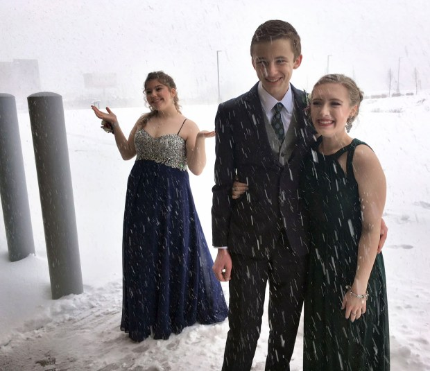 The Forest Lake Fire Department opened the Station No. 1 for Forest Lake Area High School prom-goers on Saturday afternoon. April 15. 2018 so students would have a warm place to take photos. The event even got its own hashtag: #BlizzardProm. (Courtesy of the Forest Lake Fire Department)