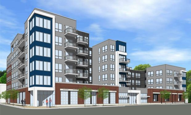 A new six-story building that contains 118 apartments, ground-floor retail and underground parking is proposed replace the one-story site where Sweeney's Cleaners and Rosemark Bakery now stand. (Courtesy of TJL Development)