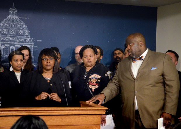 Rep. Rena Moran, DFL-St. Paul, details legislation she and Sen. Jeff Hayden, DFL-Minneapolis, have sponsored that would increase the oversight of child protective services agencies and improve outcomes for black children and families during a news conference at the State Capitol in St. Paul on Tuesday, April 10, 2018. Black children are more than three times more likely than whites to be reported to child protection and be removed from their homes. (Christopher Magan / Pioneer Press)