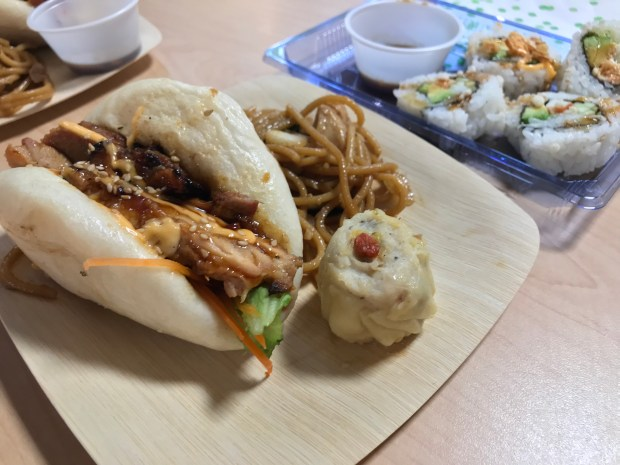 Steamed buns, noodles, dumplings and sushi at Intown Sushi at Midtown Global Market. Photographed April 10, 2018. (Nancy Ngo / Pioneer Press)