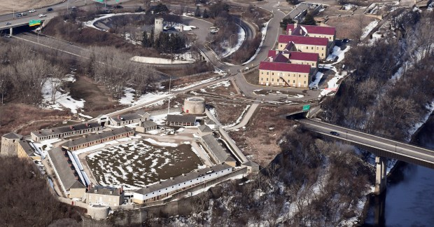 April 11, 2018 aerial photo of the Fort Snelling Historical Site. (John Autey / Pioneer Press)