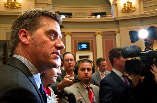 Minnesota House Speaker Kurt Daudt, R-Crown, speaks with members of the media about the prospect for gun legislation on the House floor in St. Paul on Wednesday, April 25, 2018. (Don Davis / Forum News Service)
